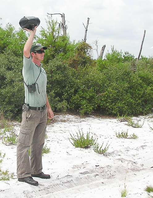 Greg Brown, Ranger at the Savannas Preserve State Park, calling the Jays.