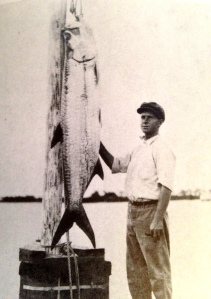 Harold R Johns, posing with a large tarpon, early 19920s, Stuart, St Lucie River. (Photo from Stuart on the St Lucie by Sandra Henderson Thurlow.)