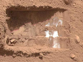 Mars Rover footprint, or John's tripod print?  You decide.